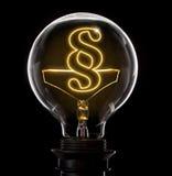 有一根发光的导线的电灯泡以段标志的形式 库存图片