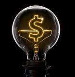 有一根发光的导线的电灯泡以美元标志s的形式 图库摄影