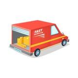 有一根开放树干的快速的送货卡车有很多箱子 外籍动画片猫逃脱例证屋顶向量 库存图片