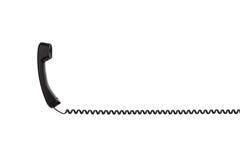 有一根扭转的导线的黑手机,水平地被舒展 免版税库存照片