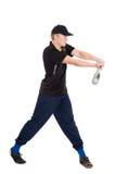 有一根棒的年轻运动员棒球的 免版税库存照片