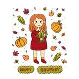 有一玉米和题字`愉快的收获`的女孩与叶子,苹果,南瓜,在白色背景 库存例证