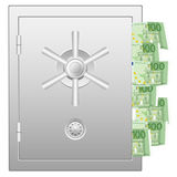 有一百张欧洲钞票的银行保险柜 库存照片