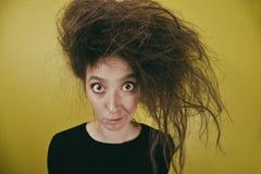 有一种奇怪的发型的女孩 库存图片