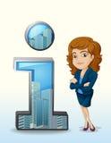 有一种愉快的个性的一名女实业家在数字旁边 免版税库存图片
