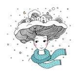 有一种有趣的发型的年轻美丽的妇女 图库摄影
