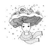 有一种有趣的发型的年轻美丽的妇女 免版税图库摄影