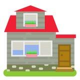 有一红色屋顶、灰色墙壁和百叶窗的私有房子在白色背景的窗口 免版税库存图片