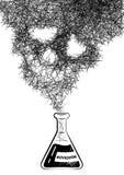 有一股烟的化工试管以一块抽象头骨的形式 向量例证