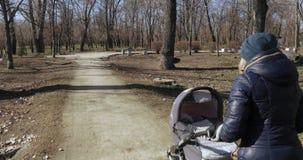 有一辆婴儿推车的妈妈在公园 股票视频