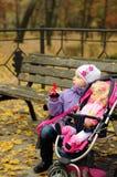 有一辆玩具婴儿推车的女孩在秋天 免版税库存照片