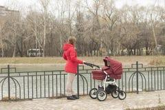 有一辆婴儿推车的女孩在一个池塘在公园 图库摄影