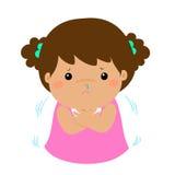 有一部冷的发抖的动画片的小女孩 库存例证