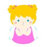 有一部冷的发抖的动画片的小女孩 皇族释放例证