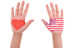 有一面被绘的心脏和美国旗子的手,我爱美国co 库存图片