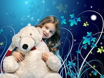 有一头北极熊的白种人小女孩 库存照片