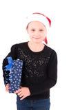 有一件新年礼物的青少年的女孩 库存图片