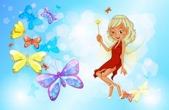 有一件红色礼服的一位神仙在小组蝴蝶旁边 库存图片