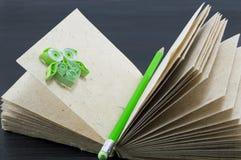有一头绿色笔和绿皮书猫头鹰的被回收的纸笔记本 免版税图库摄影