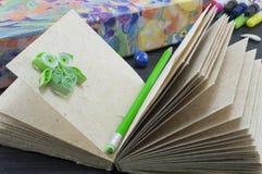 有一头绿色笔和绿皮书猫头鹰的被回收的纸笔记本 库存照片