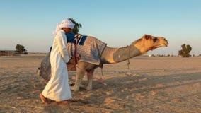 有一头骆驼的阿拉伯男孩在农场 免版税库存照片