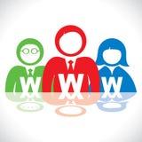 有万维网股票的五颜六色的人 库存例证