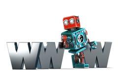 有万维网标志的减速火箭的机器人 概念查出的技术白色 查出 包含裁减路线 库存照片
