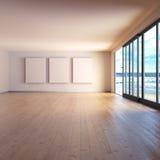 有三个屏幕的室和在海的木地板 库存照片
