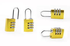 有三位数金黄数字代码的关键锁 库存图片
