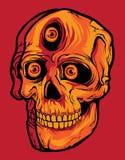 有三只眼睛的微笑头骨在红色背景中 向量例证