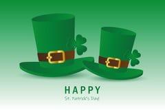 有三叶草叶子的St帕特里克斯天两绿色帽子 向量例证