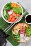 有三文鱼和菜的捅碗 图库摄影