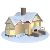有三角形屋顶的一个房子 库存照片