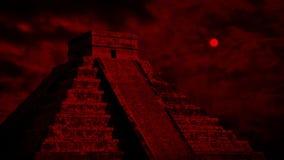 有上面红色太阳的阿兹台克寺庙 影视素材