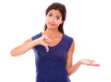 有下来拇指的哀伤的拉丁夫人 库存照片