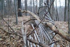 有下落的树的残破的篱芭在上面 免版税库存照片