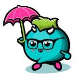 有下面雨的蓝色妖怪 免版税库存照片