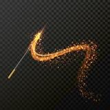 有不可思议的闪闪发光闪烁光足迹踪影的不可思议的鞭子 库存例证
