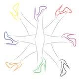 有不同的颜色鞋子的女性腿  库存图片