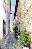 有不规则的鹅卵石地板和石头门面的狭窄的胡同在称瓦伦西亚的村庄做米尼奥省 免版税库存照片