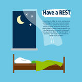 有与床的休息海报 库存例证