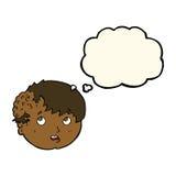 有丑恶的成长的动画片男孩在有想法泡影的头 免版税库存图片