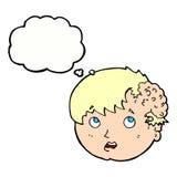 有丑恶的成长的动画片男孩在有想法泡影的头 免版税图库摄影