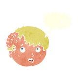 有丑恶的成长的动画片男孩在有讲话泡影的头 免版税库存照片