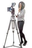 有专业摄象机的年轻非裔美国人的妇女 免版税库存照片
