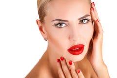 有专家的美丽的妇女组成 免版税库存照片