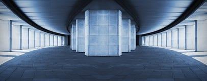 有专栏的长的走廊,超现实的设计 库存照片