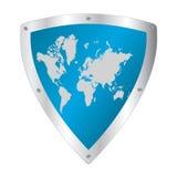 有世界地图的盾 图库摄影