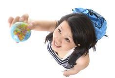 有世界地球查寻目的地的亚裔妇女 库存照片