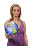 有世界地球的妇女 免版税图库摄影
